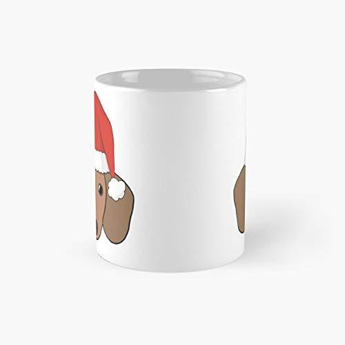 Taza clsica con diseo de perro de salchicha de Navidad con gorro de Pap Noel | El mejor regalo divertidas tazas de caf de 325 ml