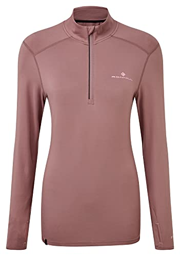 Ronhill Tech Thermal 1/2 Zip tee Camiseta, Mauve/Powder Pink, 4-8 para Mujer