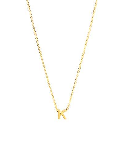 ILLISIO Tiny Letter Necklace | Damen Halskette aus Edelstahl | personalisierte Kette mit kleinem Buchstaben Anhänger (8mm) in Gold, Silber oder Roségold | Kettenlänge 46cm (K, Gold)