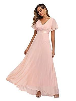 Women's Shopping Long V Neck Bridesmaid Dresses for Wedding PK, Size S Pink