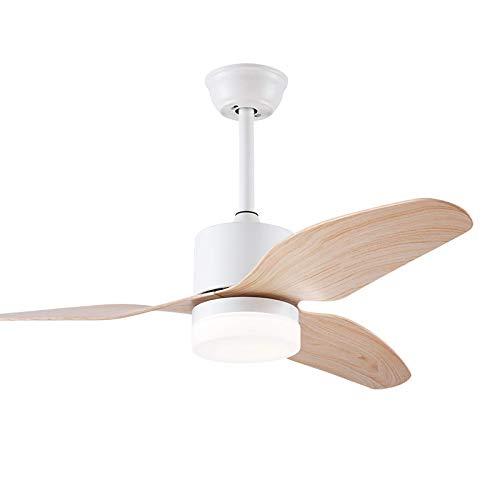 CCZUIML Inversor Ventilador Luz Trefoil Madera Arte Sala De Estar Comedor Luz Led Lámpara Ventilador Luz