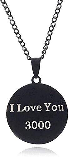 LBBYLFFF Collar Retro Diseño Clásico Hombres Mujeres Fácil de Combinar Personalidad Simple I Love You 3000 Colgante Collar