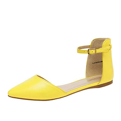 DREAM PAIRS Flapointed-Ankle Women's Casual D'Orsay Pointed Plain Ballet Comfort Soft Slip On Flats Shoes New Yellow Size 8