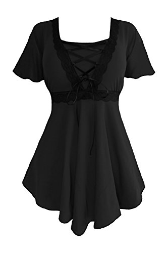 Dare to Wear Angel Corset Top: Victorian Gothic Grecian Women's Plus Size Empress Blouse for Everyday Halloween Cosplay Festivals, Black/Black 3X