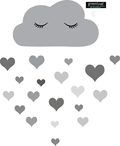 greenluup große, umweltfreundliche Wandsticker Wolken Grau Blau Rosa schlafende Wolke Wimpern Herz Herzen Kinderzimmer Babyzimmer Baby Kinder Mädchen Junge (w23)