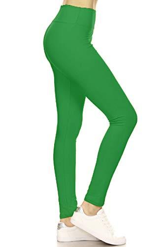LYR128-KELLYGREEN Yoga Solid Leggings, One Size