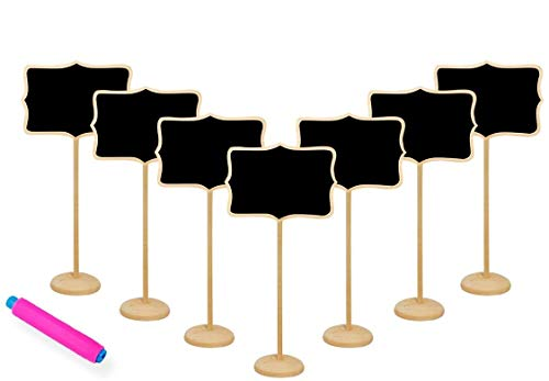 Lulutus Writing Board Chalkboards Sign with Stand Wood Mini Blackboard (20 Pcs)+ 1Chalk Holder for Wedding,Parties,Table Top Numbers,Food Signs and Decorating Signs (20 Packs)