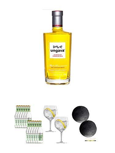 Ungava Canadian Premium Gin 0,7 Liter + Fever Tree Elderflower Tonic Water 12 x 0,2 Liter + Spiegelau Gin & Tonic 4390179 2 Gläser + Schiefer Glasuntersetzer RUND ca. 2 x 9,5 cm Durchmesser