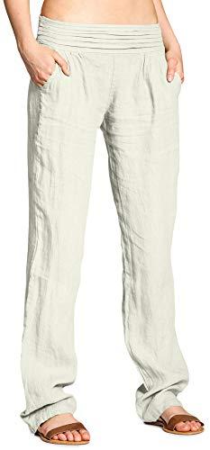 CASPAR Fashion Caspar KHS020 Damen Casual Leinen Hose, Farbe:beige, Größe:XXL - DE44 UK16 IT48 ES46 US14