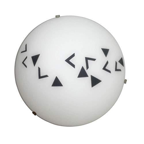ONLI plafondlamp in mat wit glas met geometrisch patroon in zwart. Diameter: 25 cm