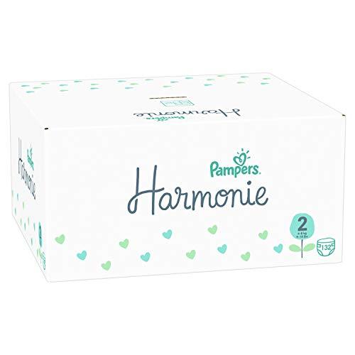 Pampers Harmonie tamaño 2, 4 kg - 8 kg, caja de media mes (132 pañales), protección suave de la piel e ingredientes basados en plantas.