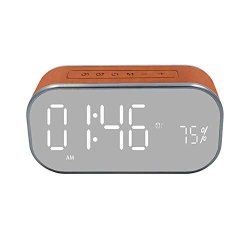Wireless Bluetooth Speaker,Portable Bluetooth 5.0 Speaker with Light,1800 mAh Battery,Two Passive Subwoofers,FM Radio Function,4 Main Modes:Time,Date,Double Alarm Clock(Brown)