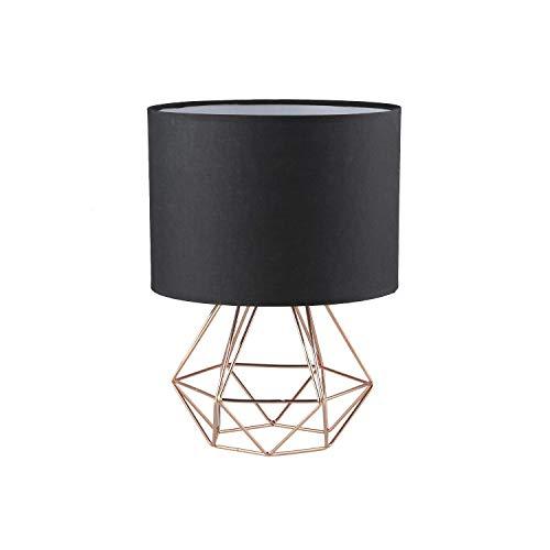 FRIDEKO HOME Vintage Mini Tischlampe - 18cm DIY Tischleuchte Modern Körbchenstil Stil Kreativer für Schlafzimmer Nachttischlampe Arbeitszimmer Office Schwarz und Rose Golden