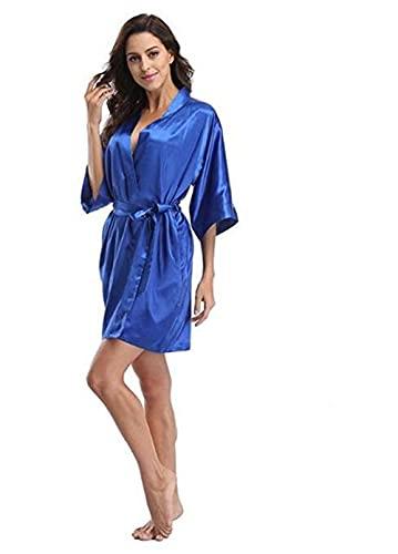 4XL.Kimono de Boda de satén para Mujer, Bata de Novia, Ropa de Dormir, Batas de Dama de Honor, Pijamas, Bata de baño, camisón de SPA, Batas de Novia, Bata-Royal blue-6-XL