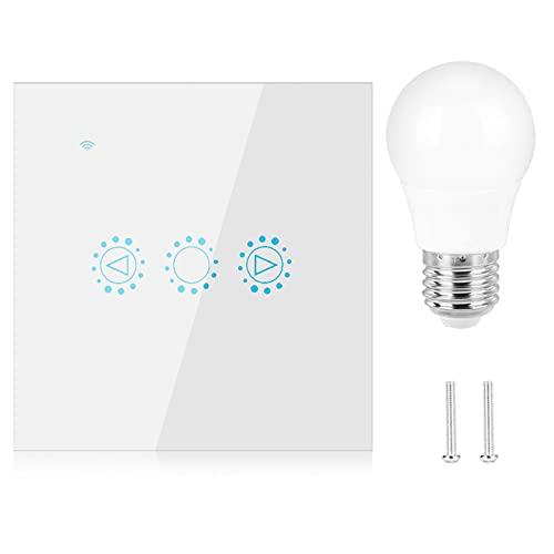 Interruptor inteligente con temporizador, WiFi, regulador de intensidad, interruptor LED, bombillas halógenas inteligentes (blanco, trasl)