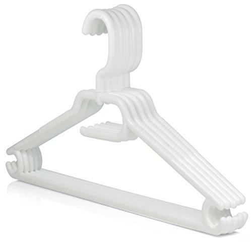Hangerworld - Perchas De Plástico Con Muescas Y Barra Para Pantalones, Gancho Giratorio, Color Blanco, 40 cm, 20 Unidades