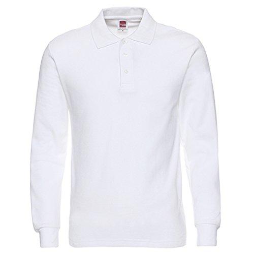 NeedBo Men's Long Sleeve Casual Solid Golf Polo Shirt,white,s