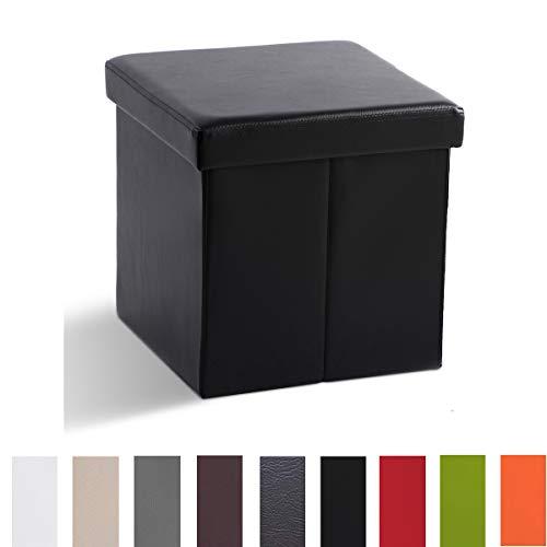 Zedelmaier Sitzhocker Sitzwürfel mit Stauraum Fußbank Truhen Aufbewahrungsbox faltbar belastbar bis 300 kg, Deckel abnehmbar, 38 x 38 x 38 cm (Schwarz)