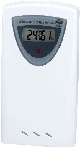 Bresser Funkwetterstation Thermo/Hygro Sensor 5 Kanal 433 Mhz Frequenz für Temperatur- und Luftfeuchtigkeitsermittlung mit digitaler Anzeige und 50 Meter Reichweite im Freien, weiß