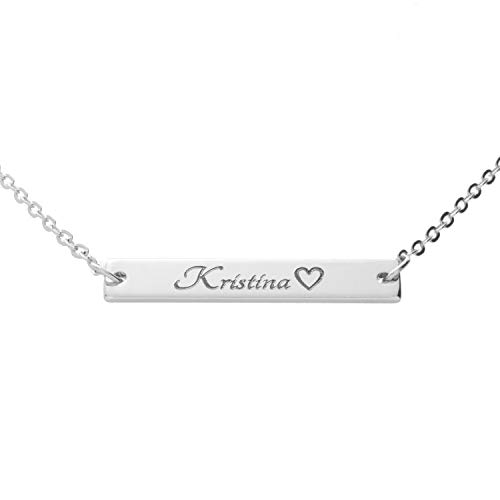 Customizable Your Name Absolute Bar Necklace Gift - Custom Jewelry Plated in 16k Rose Gold - Personalized Engraved Accessories for Wedding, Birthday, Graduation, Mother's Day, Christmas - With Present Box