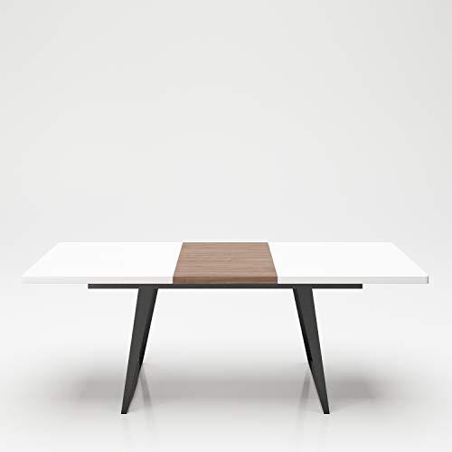 PLAYBOY Esstisch ausziehbar von 160 bis 210cm, weiss matt mit Nussbaumfurnier und Metallgestell in schwarz, integriertes Mittelstück zum ein-ausklappen, abgerundete Ecken, modernes Retro-Design