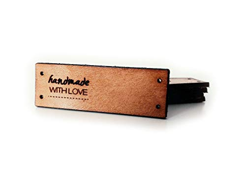 3DP Handmade E | Folding Leather Labels | 15 pcs | Exclusive Engraved Genuine Italian Leather Tags