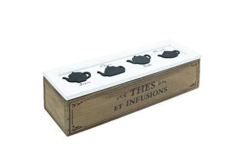 Scatola Porta Tisane in Legno, Porta Bustine The da 4 Tea Box, Scatola Porta The Bustine 33x10x9 cm (da 4)