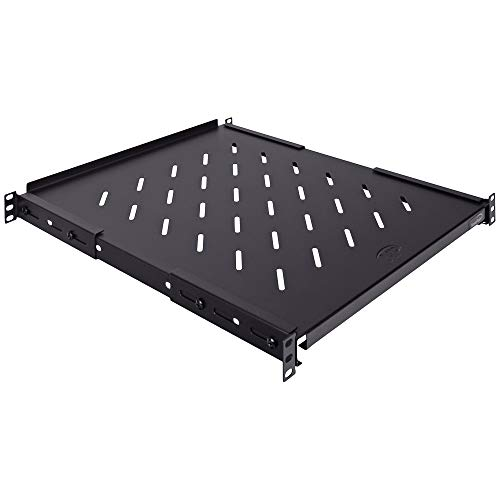 NavePoint Fixed Rack Vented Server Shelf 1U 19 Inch 4 Post Rack Mount Adjustable from 16-33 Inches