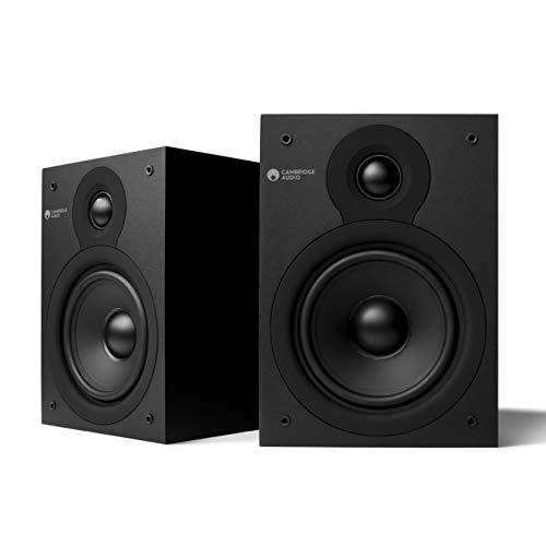 Cambridge Audio SX-50 Bücherregal Lautsprecher, 1 Paar Kompakte Wandregal Musikboxen, Lautsprecher für HiFi Anlage und Heimunterhaltungssystem, Kräftiger Bass, Klarer, Definierter Ton, Mattschwarz