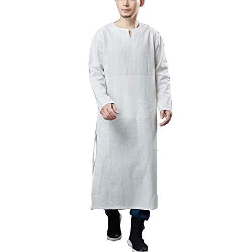 Hombre camisón Gabardina para Hombre Abrigo Primavera Otoño Chaqueta Larga Kung Fu Sabana de Algodon Túnica Abrigo Vintage Estilo Chino (Color : White, Size : XL)