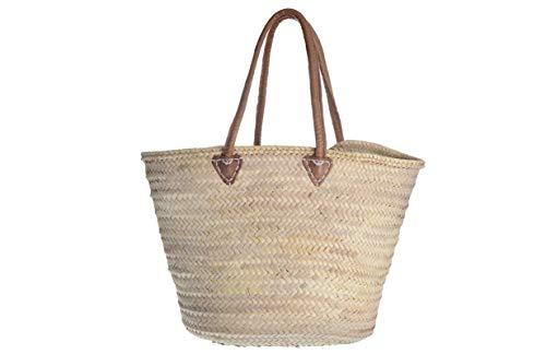 Afrikan Bags - Bolso Capazo de Palma | Bolso de Palma de Base Oval con Asa de Cuero Redonda en Cuero Marrón - 56 x 24 x 34 cm
