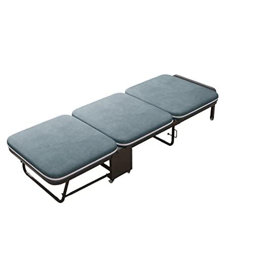 QIAOLI Cama individual plegable con colchón de espuma viscoelástica y marco de metal portátil con ruedas, cama extra plegable para invitados para dormitorio (tamaño: 180 x 75 x 26 cm)