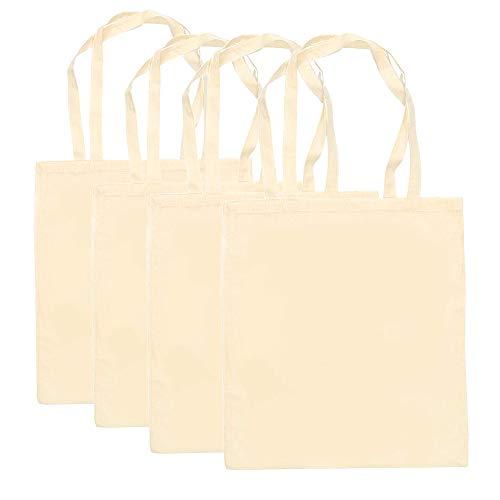 Bolsas con Asas de algodón Natural (35 x 40 cm, 4 Unidades)