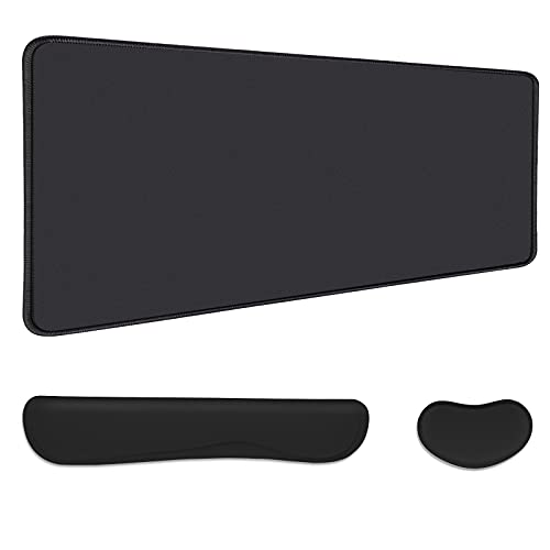 AtailorBird Gaming Mouse Pad 31.5''x15.7''x0.12'', Durable Stitched Edges Cloth Desk Mat & Ergonomic Memory Foam Filled Wrist Rest Set for Keyboard and Mouse Non-Slip Rubber Base for Computer, Black