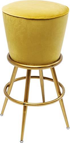Kare Design Barhocker Lady Rock Gelb, gepolsteter Barstuhl mit 4 Füßen und Fußablage in der Farbe Gold, runde Sitzfläche in gelber Samt Optik,  (H/B/T) 74x48x48cm