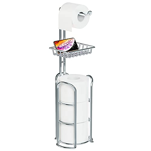 Toilet Paper Holder Stand with Reserve and Dispenser for 4 Mega Rolls, Bathroom Freestanding Toilet Tissue Paper Roll Storage with Cell Phone Shelf, Chrome