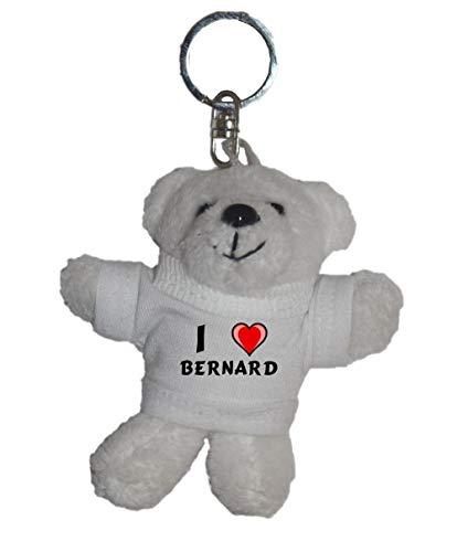 Shopzeus Llavero de Oso Polar de Peluche con Amo Bernard en la Camiseta (Nombre de Pila/Apellido/Apodo)