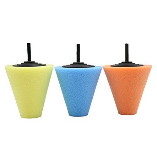 WINOMO 3PCS Kegel-geformtes Schwamm-Schaum-Auflage-Polierwachs-Polierauflage-Werkzeug für Autopflege