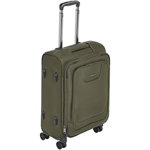 Amazon Basics - Maleta con ruedas de calidad superior, expandible, con lados blandos y cierre con candado TSA, 53cm, Verde oliva