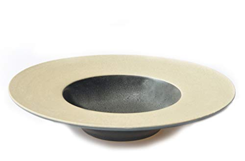 THE CHEF COLLECTION – Assiette Creuse 24, Collection Zen, assiette japonaise en céramique, 24,5x24,5x5,0 cm