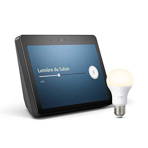 Echo Show (2ème génération) - Restez en contact avec l'aide d'Alexa, Noir + Ampoule connectée Philips Hue