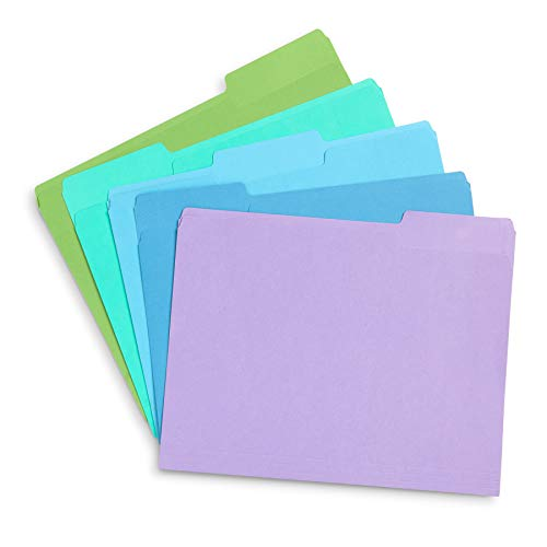 Blue Summit Supplies Ocean Tone Colored File Folders Letter Size, 1/3 Cut Top Tab File Folders, Assorted Blue and Green Colored, for Organizing and File Cabinet Storage, 100 Pack
