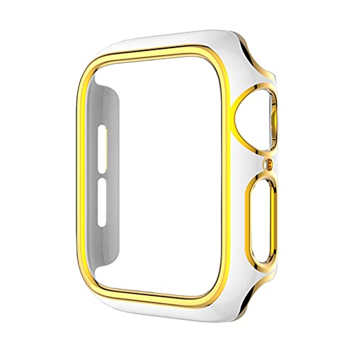 DLCYMY Parachoques de PC de varios colores para la cubierta del reloj Series 6 SE 5 4 3 Funda protectora para reloj de 40 mm, 44 mm, 42 mm, 38 mm (color: oro blanco, diámetro de la esfera: 40 mm)