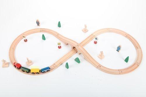 Holzeisenbahn Spielzeugeisenbahn Lok Waggon Brücke Figuren Schienen Set 34 Teile