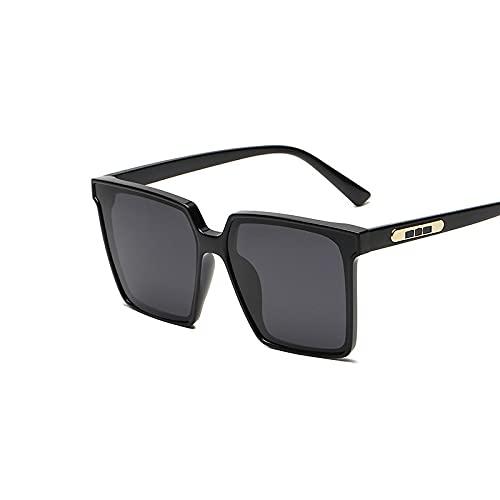 XINMAN Gafas De Sol De Moda con Caja De Todo Fósforo, Gafas De Sol Cuadradas Polarizadas, Moda Callejera, Gafas De Sol A Prueba De Viento, Montura Negra, Película Gris Negra
