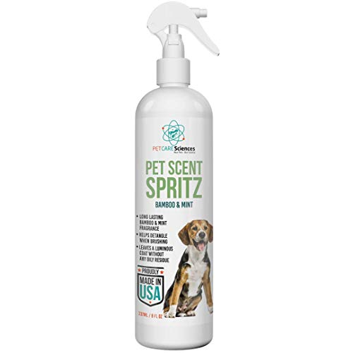 PET CARE Sciences Scent Spritz Dog Spray Deodorizer, Dog Freshening Spray, Long Lasting Dog Cologne, Bamboo and Mint Fragrance, 8 fl oz, Made in The USA (Bamboo and Mint)