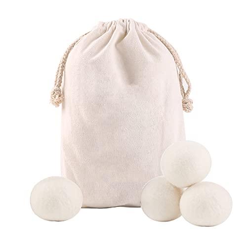 Torkbollar ull organisk, torkbollar för torktumlare dun, torkarbollar för tumla torkar, torkbollar antistatisk filt mot djurhår tyst, tvättboll fårull (vit, 4 st)