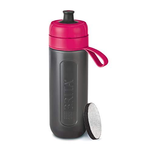 BRITA Active Filtro tecnología MicroDisc, Sabor para Disfrutar en Cualquier Lugar, Botella de Agua sin BPA, Rosa, 7.6 x 8 x 25.5 cm