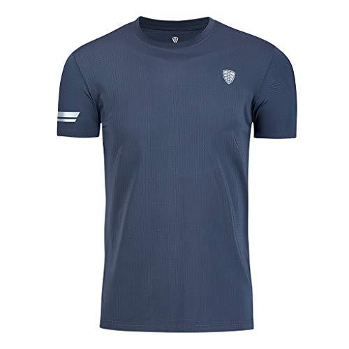 Men Fitness Shirts,Fineser Mens Sports Short Sleeves T Shirt Fast Dry Slim Breathable Casual Shirt Top M-4XL (Gray, M)