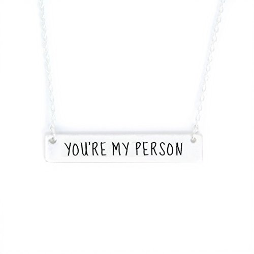Me Plus Inspirational Horizontal Engraved Bar Pendant Necklace You're My Person (Silver, Brass)